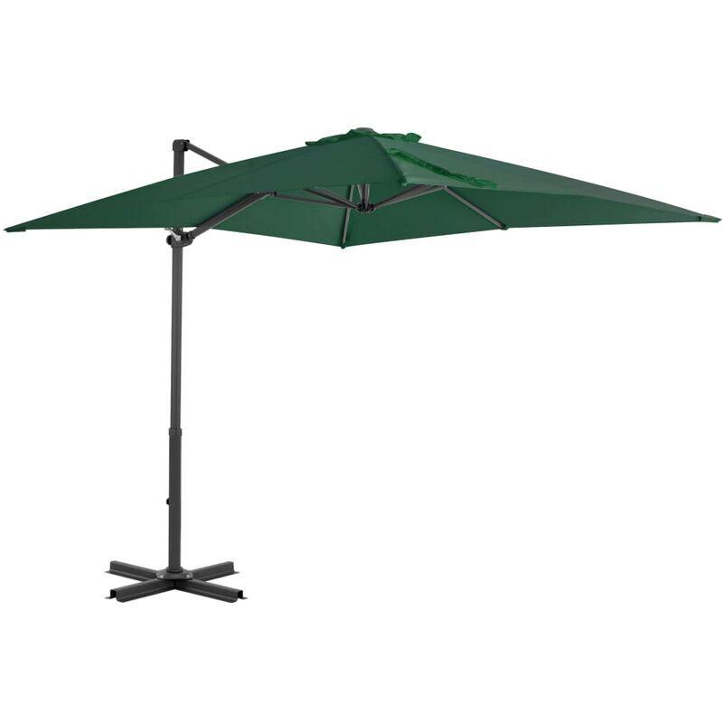 Rogal parasol en porte-à-faux et mât en aluminium 250x250 cm vert Rogal