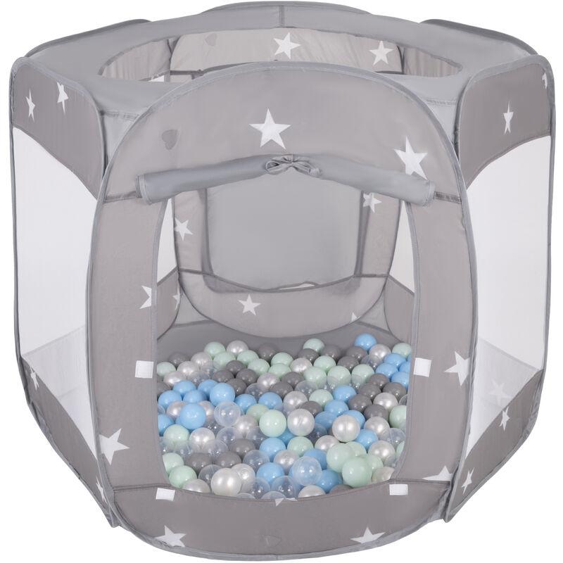 SELONIS Parc Bébé Pliable Tente 120X100x85cm Avec 400 Balles 6Cm Pour Enfants, Gris: Perle/Gris/Transparent/Babyblue/Methe - Selonis