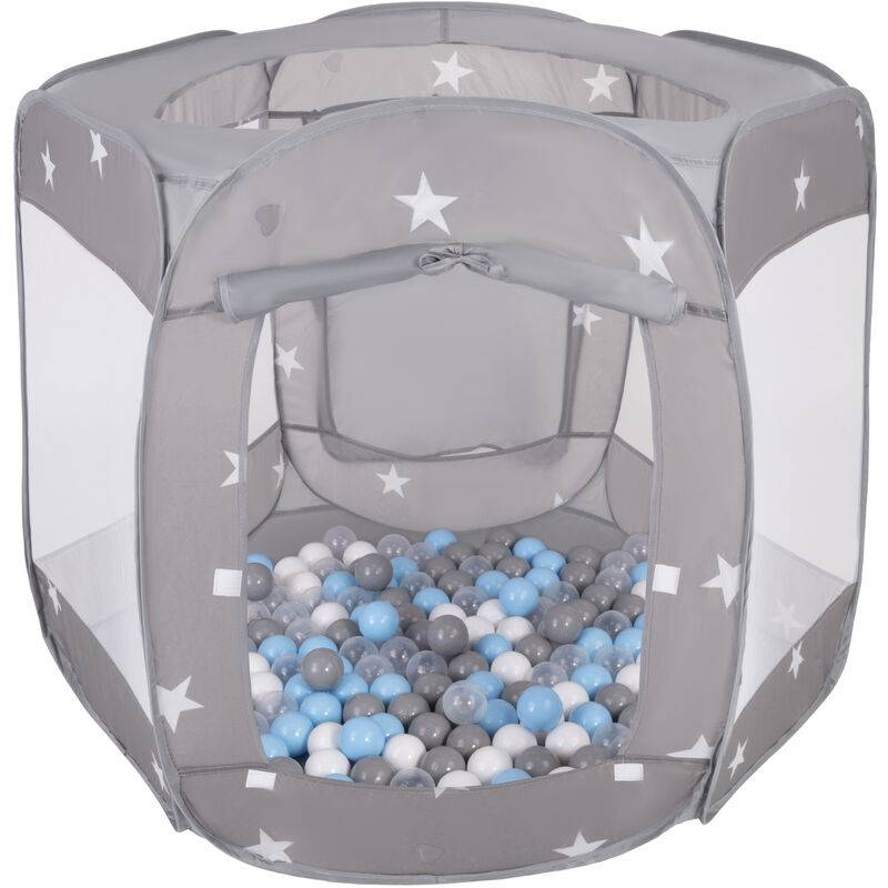 SELONIS Parc Bébé Pliable Tente 120X100x85cm Avec 400 Balles 6Cm Pour Enfants, Gris: Gris/Blanc/Transparent/Babyblue - Selonis