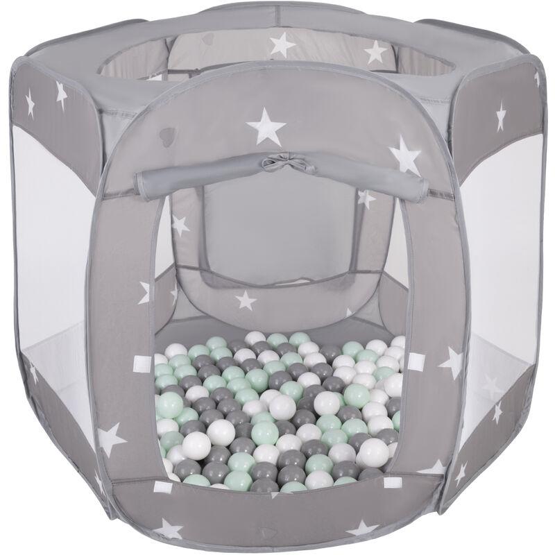 Selonis Parc Bébé Pliable Tente 120X100x85cm Avec 900 Balles 6Cm Pour Enfants, Gris: Blanc/Gris/Methe
