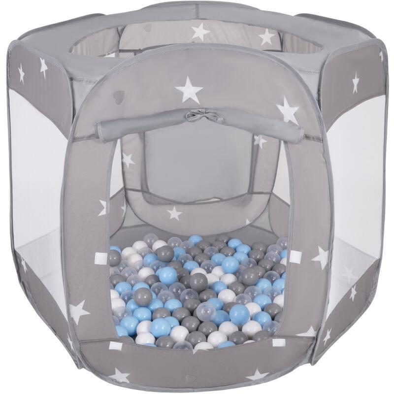 SELONIS Parc Bébé Pliable Tente 120X100x85cm Avec 900 Balles 6Cm Pour Enfants, Gris: Gris/Blanc/Transparent/Babyblue - Selonis