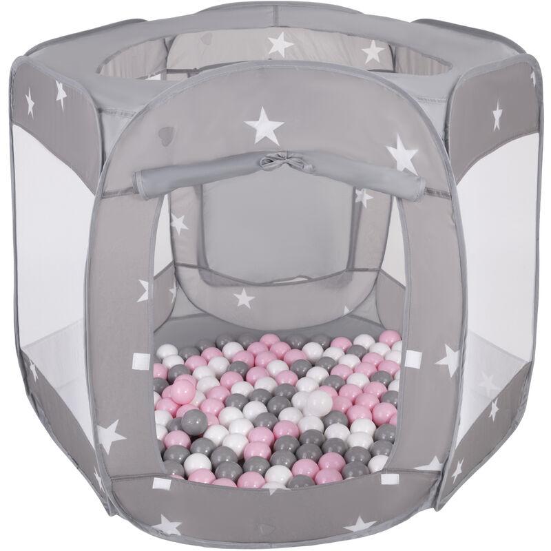 SELONIS Parc Bébé Pliable Tente 120X100x85cm Avec 900 Balles 6Cm Pour Enfants, Gris: Blanc/Gris/Rose Poudré - Selonis