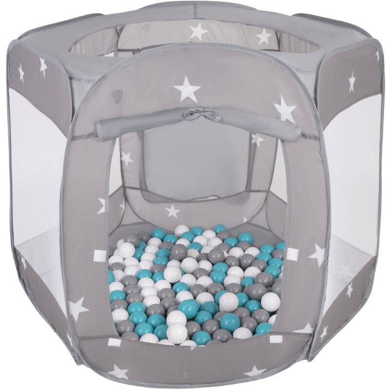 SELONIS Parc Bébé Pliable Tente 120X100x85cm Avec 900 Balles 6Cm Pour Enfants, Gris: Gris/Blanc/Turquoise - Selonis