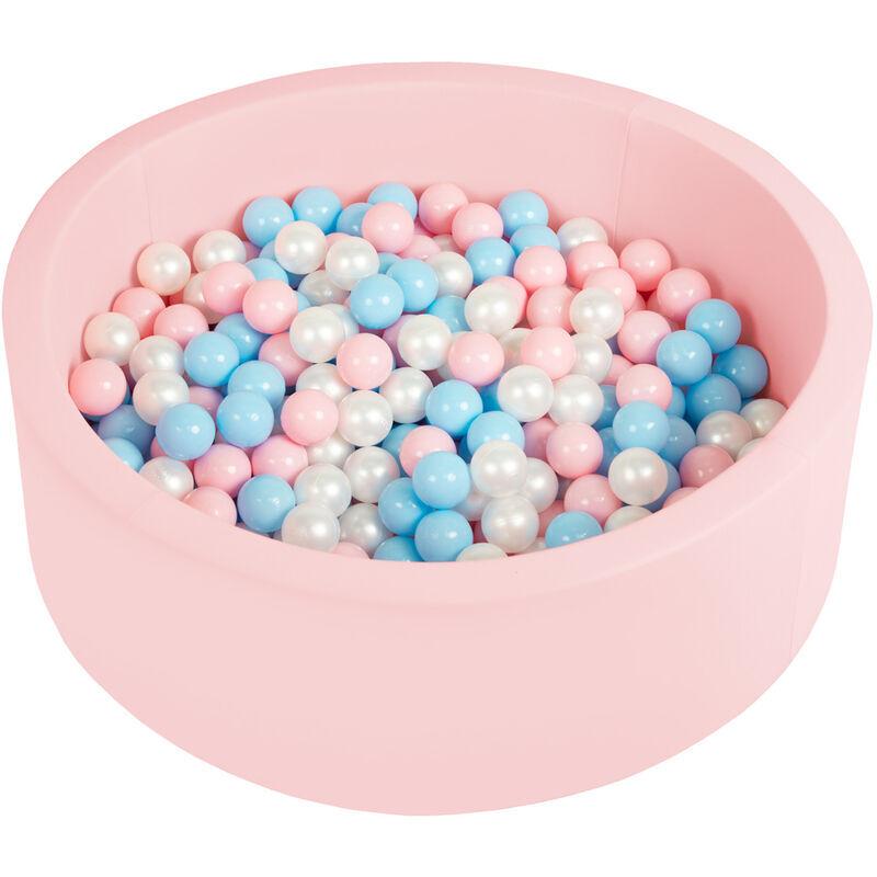 SELONIS Piscine À Balles 90X30cm/200 Balles Ronde En Mousse Pour Bébé Enfant, Rose: Babyblue/Rose Poudré/Perle - Selonis