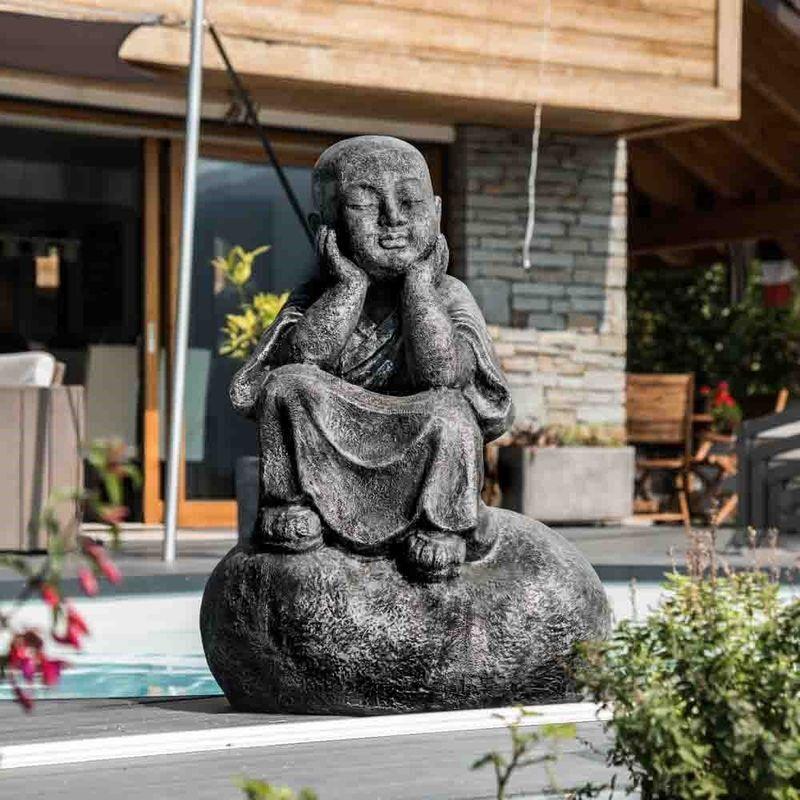 WANDA COLLECTION Statue moine shaolin pensif patiné gris 80 cm