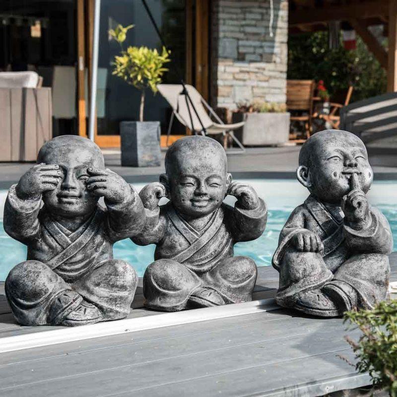 WANDA COLLECTION Statues moine de la sagesse patiné gris 40 cm