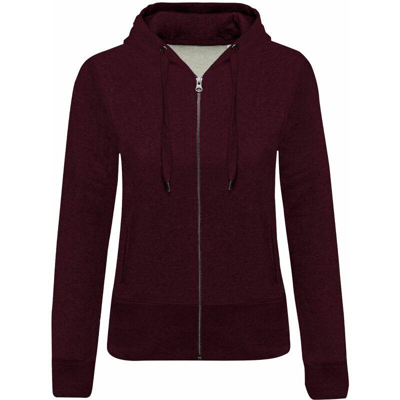 KARIBAN Sweat-shirt Bio zippé capuche femme 'L Wine Heather - Wine Heather