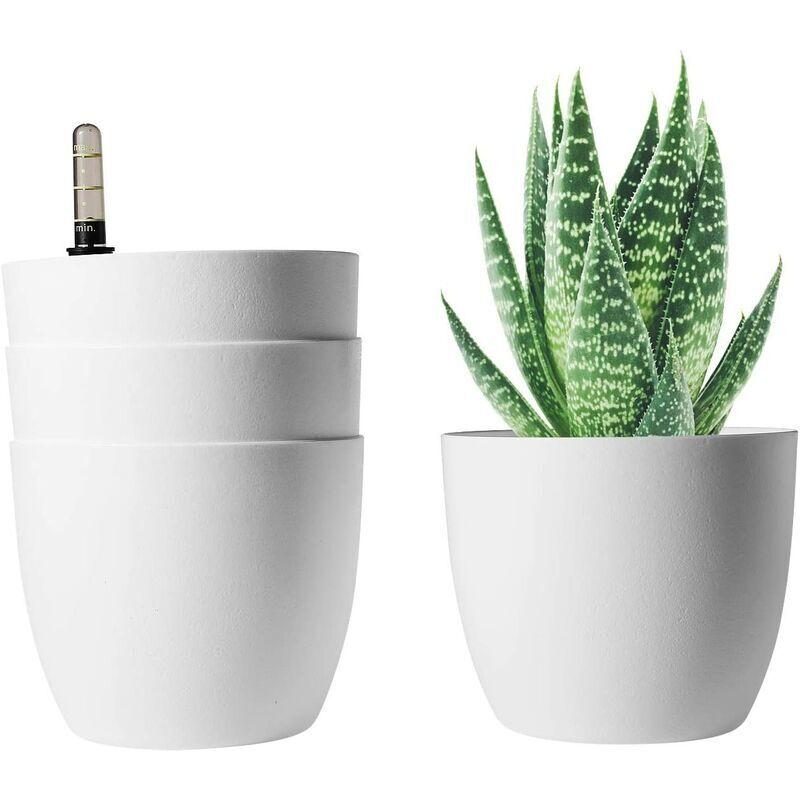 ABCRITAL T4U Bac à Fleurs Auto-Irrigation Blanc 15.5 * 13cm en Plastique Rond Lot de 4, Pot avec Réserve d'eau et Indicateur de Niveau d'eau Pot avec Système