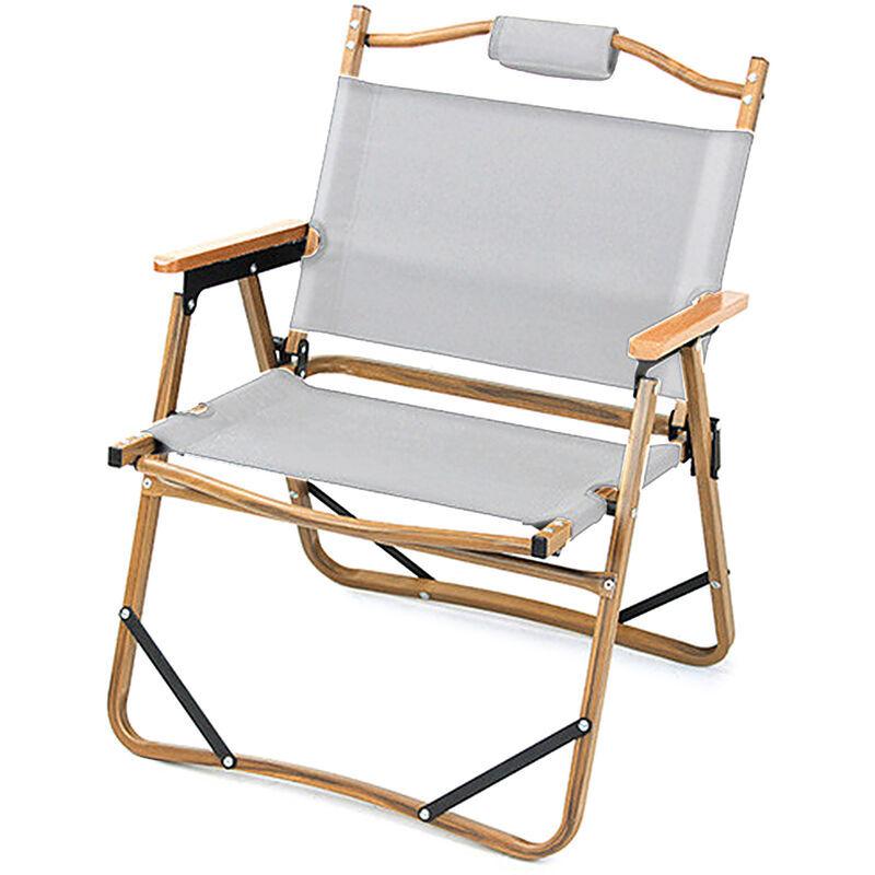 HAPPYSHOPPING Table et chaise pliantes en alliage d'aluminium a grain de bois imitation Chaise pliante, (blanc)