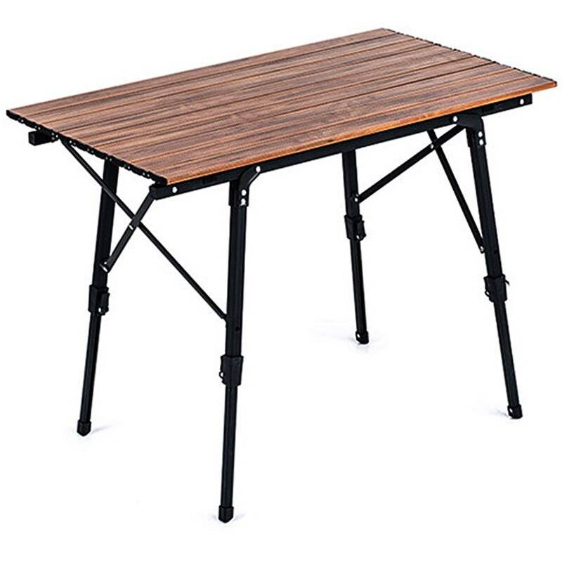 HAPPYSHOPPING Table pliable en alliage d'aluminium Bureau de table portable en grain de bois d'imitation pour la plage de barbecue de camping en plein air, modele: