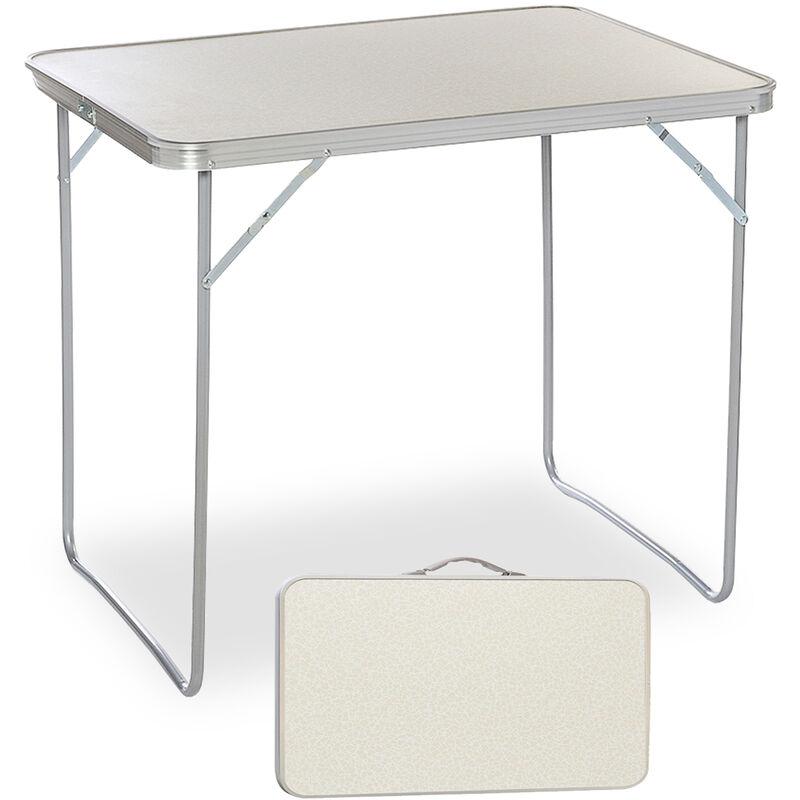 COXOLO Table pliante 80x60cm, bureau en aluminium pour pique-nique de travail à domicile portable réglable