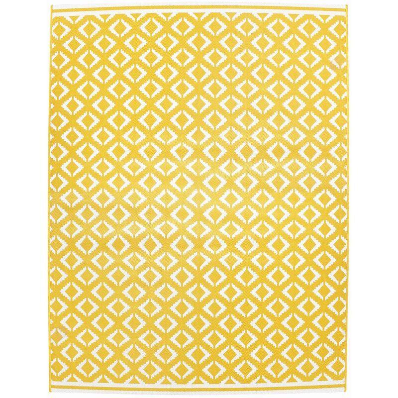 ALICE'S GARDEN Tapis extérieur/intérieur 290 x 200 cm. jaune et blanc. densité 1.15 kg/m2. motif ethnique avec carrés. traité anti UV. toutes saisons