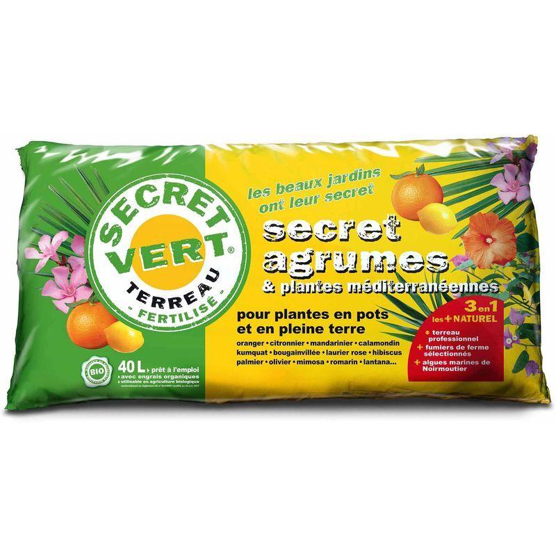 SECRET VERT Terreau bio pour agrumes et plantes méditerranéennes 40 L 40 litres