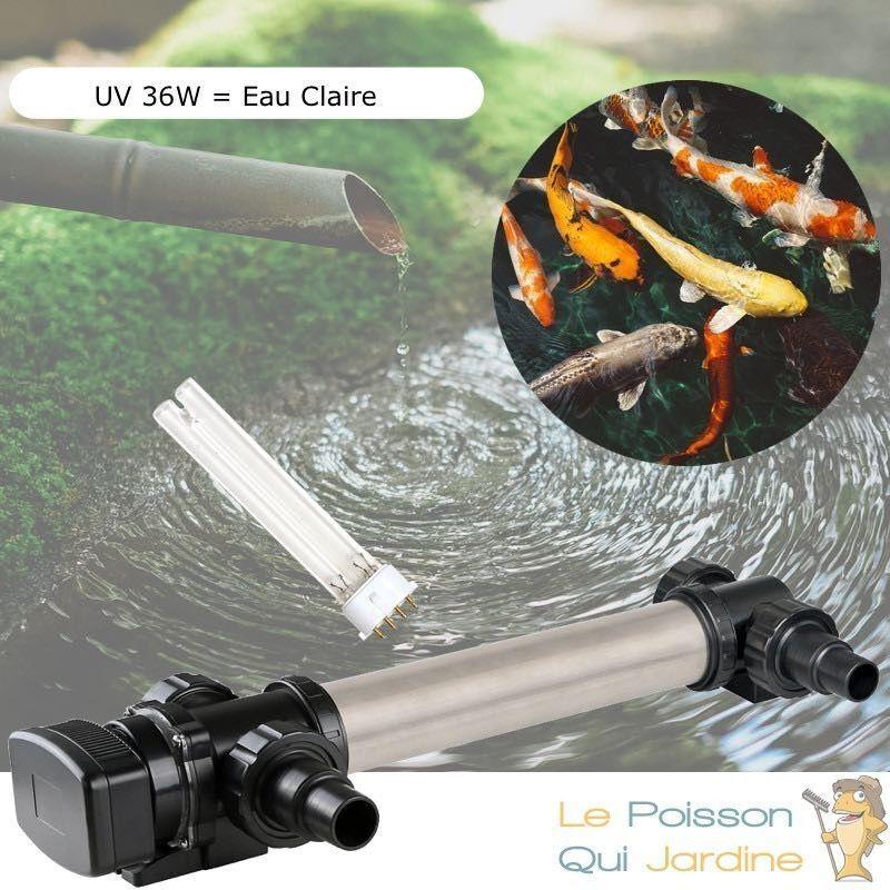 WWW.LEPOISSONQUIJARDINE.FR U.V INOX ( Ultra Violet ) Stérilisateur - Clarificateur 36W Pour Bassin De 15 m³ + 1 Ampoule De Remplacement