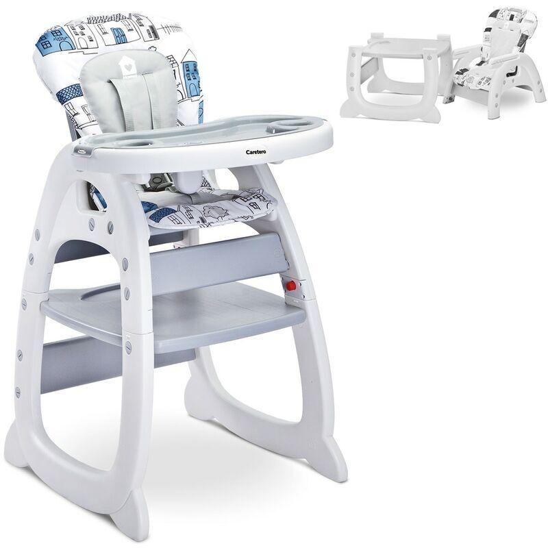 HUCOCO HOMEE Chaise haute 2en1 évolutive en bureau Gris - Gris