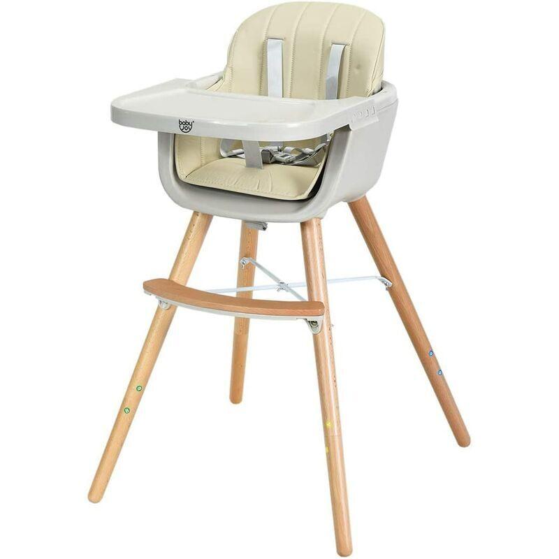 COSTWAY Chaise Haute Bébé 2 en 1 en Bois avec 3 Hauteurs et Plateau Réglables,Ceinture de Sécurité à 5 Points Blanc Style Scandinave