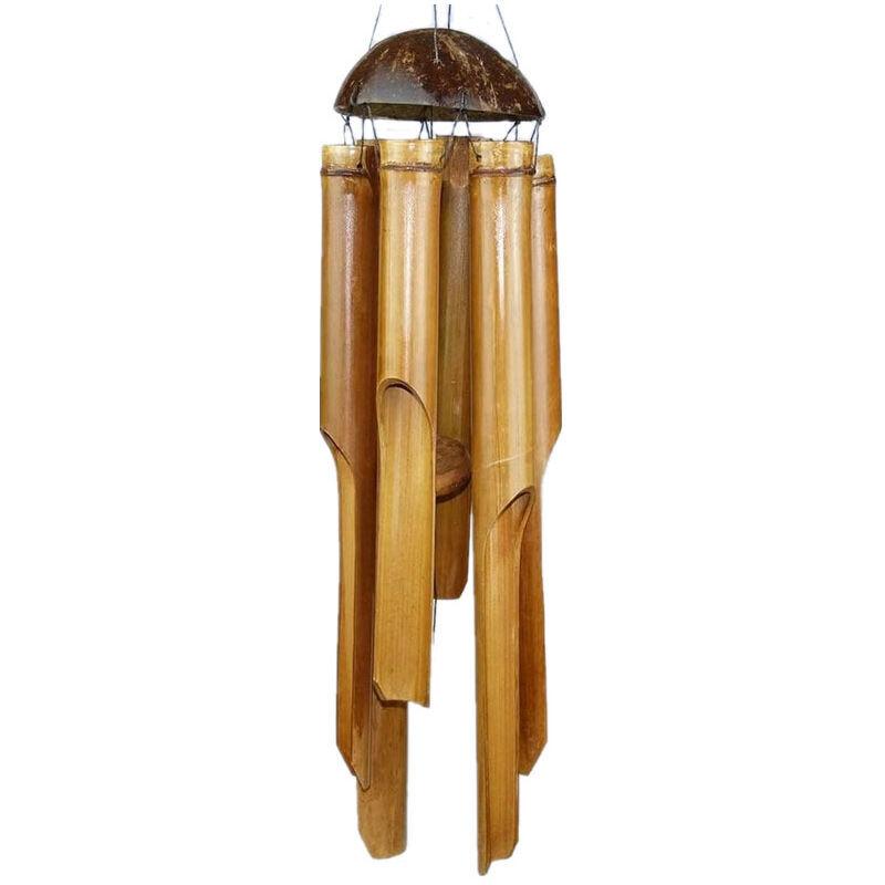 ZQYRLAR Carillons éoliens Carillon Bambou Déco Carillons mobiles Jeu sonore Détente Sonnette de jardin Feng Shui 60 cm
