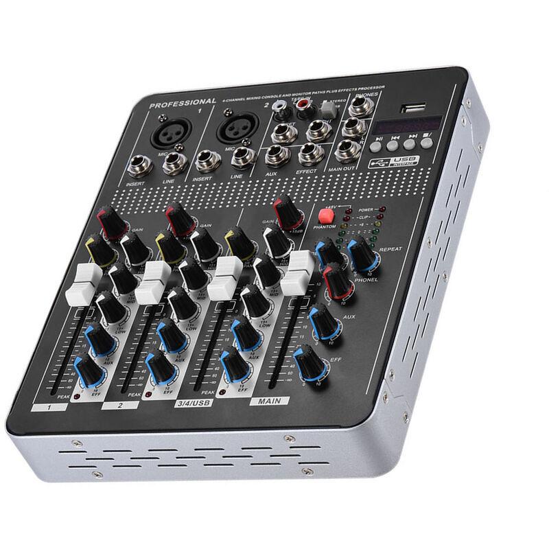 HAPPYSHOPPING Console de mixage professionnelle de mixage audio ligne micro 4 canaux avec interface USB d'alimentation fantome 48 V EQ 3 bandes, modele : prise UE