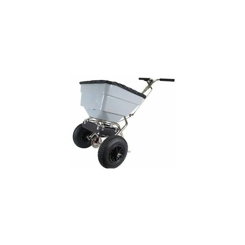 Épandeur de sel à pousser avec châssis inox d'une capacité maximale de 42 kg 3 déflecteurs orientab