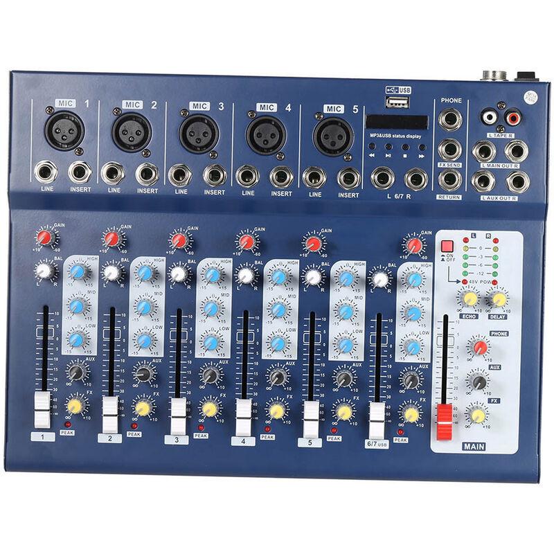 HAPPYSHOPPING F7-USB Ligne de micro numerique 7 canaux Melangeur de sons audio Console de mixage Connexion BT sans fil avec entree USB Alimentation fantome 48 V