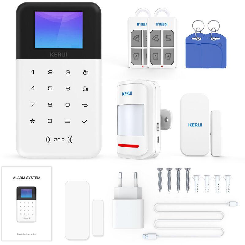 KERUI Kit D'Alarme Wifi + Gsm, Avec 1 Capteur De Porte + 1 Detecteur Pir + 2 Telecommandes + 2 Cartes Rfid, Prend En Charge Amazon Alexa Et Google