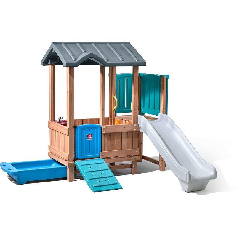 Step2 Woodland Adventure Maison Enfant avec Toboggan   Aire de Jeux pour l'extérieur   Maisonnette / Cabane de Jeu en Plastique