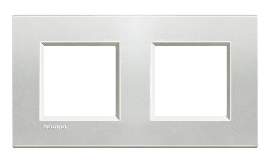 Bticino - Plaque de finition 2 postes - Livinglight Naturalia - Argent - LNA4802M2AG