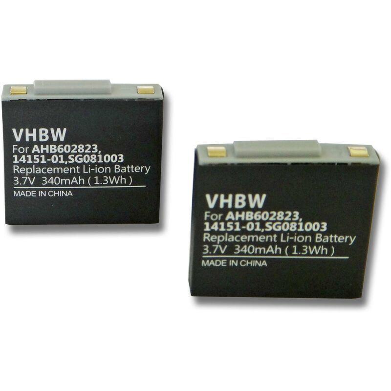 vhbw 2x batterie compatible avec GN Netcom Jabra GN9120, GN9120, GN9125, GN9125 Flex, GN9125 Micro, GN9125 Mini Headset (340mAh, 3.7V, Li-Polymer)