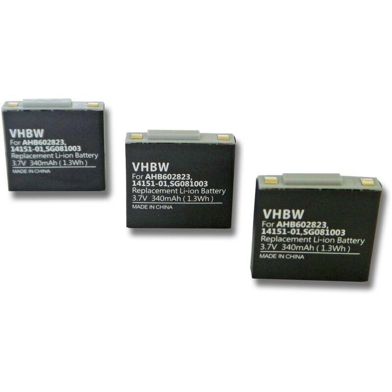 VHBW 3x batterie compatible avec GN Netcom Jabra GN9120, GN9120, GN9125, GN9125 Flex, GN9125 Micro, GN9125 Mini Headset (340mAh, 3.7V, Polymer) - Vhbw