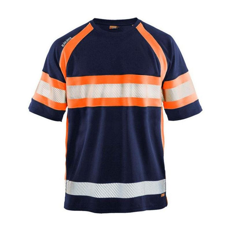 BLAKLADER T-shirt haute visibilité Blaklader anti-UV et anti-odeurs Marine / Orange L