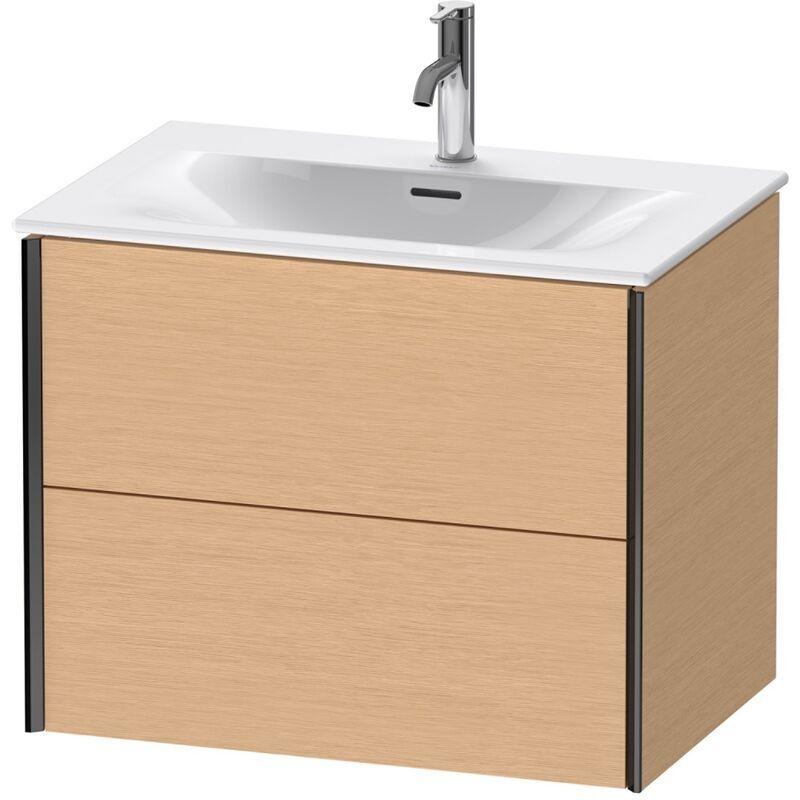 DURAVIT AG Duravit Durait XViu 4133 Meuble sous-lavabo suspendu, 2 tiroirs, pour lavabo Viu 234473, 710x480 mm, Couleur (avant/corps): noir mat/chêne brossé