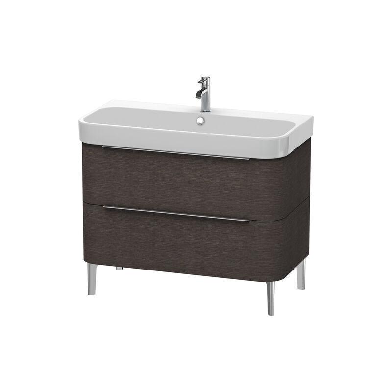 DURAVIT Happy D.2 Meuble sous-lavabo sur pied 975mm 6374, 2 tiroirs, pour Happy D.2, Couleur (avant/corps): placage en chêne véritable brossé foncé