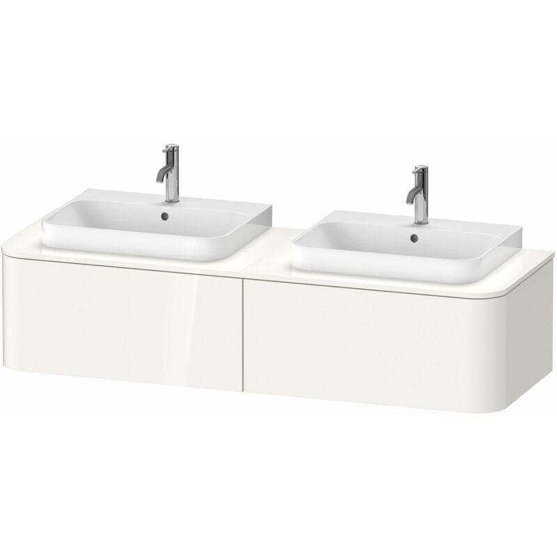 DURAVIT AG Duravit Happy D.2 Plus Meuble sous-lavabo pour console murale, 1600x550 mm, 2 tiroirs, pour 2 lavabos à meubles, Couleur (avant/corps): Noyer brossé