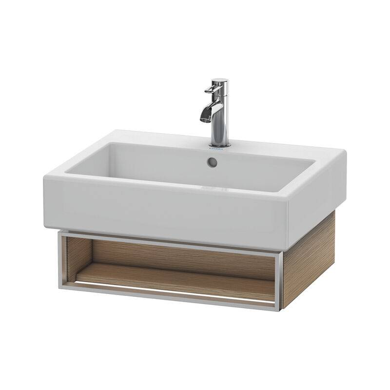 DURAVIT Meuble sous-lavabo Vero 6004 mural, avec 1 compartiment ouvert avec porte-serviettes, 550mm, Couleur (avant/corps): Chêne brossé Placage bois