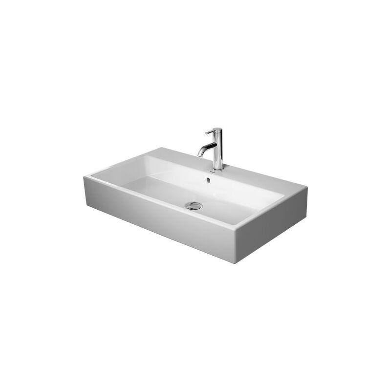 DURAVIT AG Duravit Vero Cuvette de lavage d'air 80x47cm, sans trop-plein, avec table de robinetterie, 1 trou de robinet, rectifié, Coloris: Blanc avec