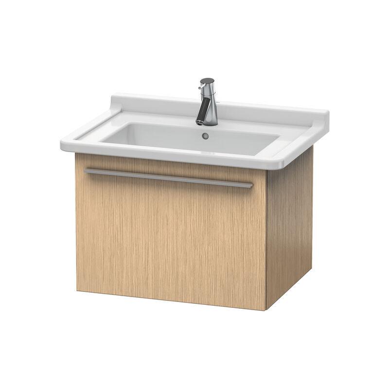 DURAVIT X-Large Meuble sous-lavabo suspendu 6056, 1 tiroir, 600mm pour Starck 3, Couleur (avant/corps): Chêne brossé Placage bois véritable - XL605601212