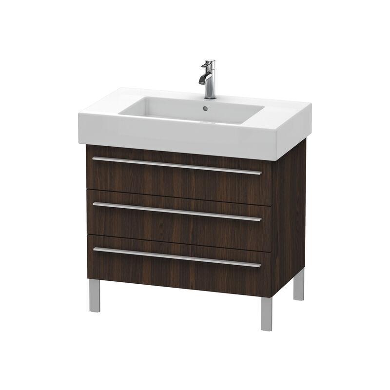 Duravit X-Large Meuble sous-lavabo suspendu 6553, 2 tiroirs, 800mm pour Vero 032985 (non poncé), Couleur (avant/corps): Noyer brossé Placage bois