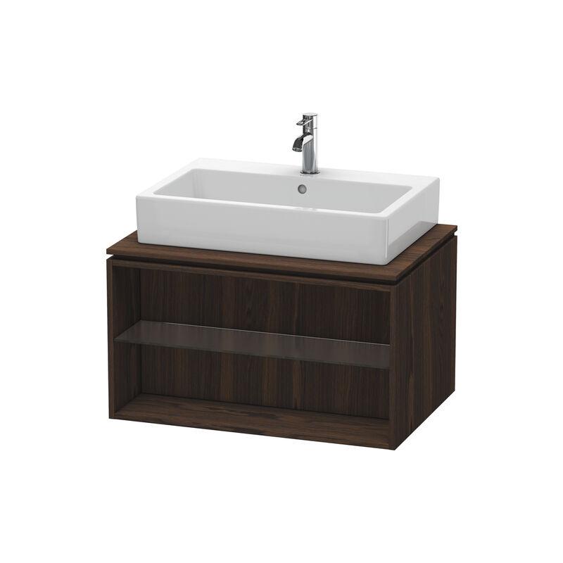 DURAVIT X-Large Meuble sous-lavabo suspendu pour console 6718, compartiment ouvert, 800mm, Couleur (avant/corps): Noyer brossé Placage bois véritable