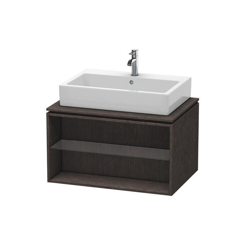 DURAVIT X-Large Meuble sous-lavabo suspendu pour console 6718, compartiment ouvert, 800mm, Couleur (avant/corps): placage en chêne véritable brossé foncé