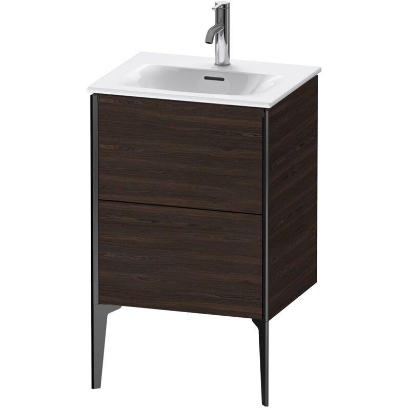 DURAVIT AG Duravit XViu 4069 Meuble sous-lavabo vertical, 2 tiroirs, pour lavabo Viu 234453, 510x420 mm, Couleur (avant/corps): noir mat/noyer brossé