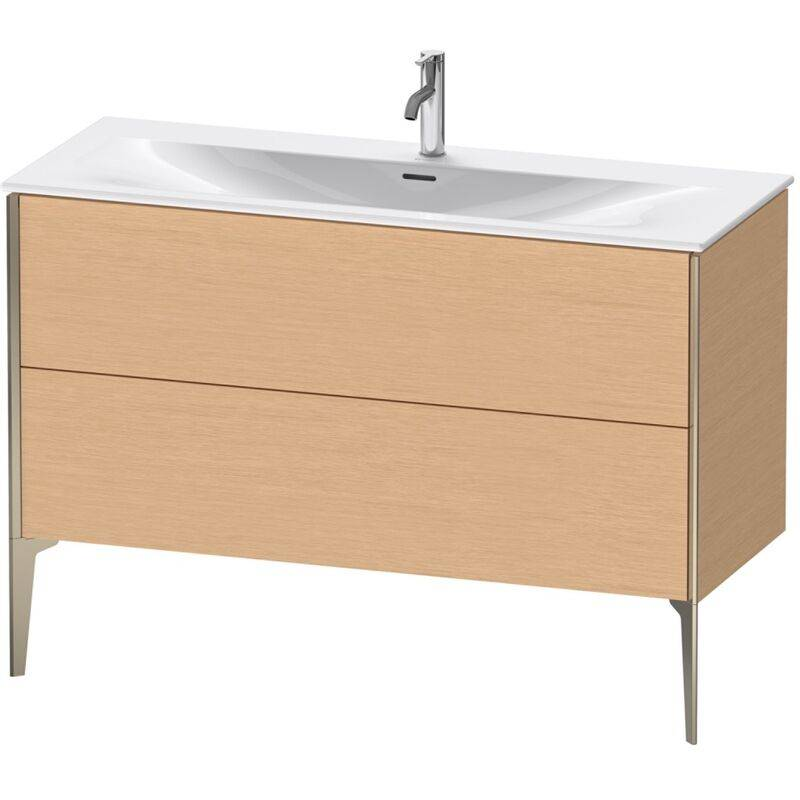 DURAVIT AG Duravit XViu 4304 Meuble sous-lavabo vertical, 2 tiroirs, pour lavabo Viu 234412, 1210x480 mm, Couleur (avant/corps): champagne mat / chêne brossé