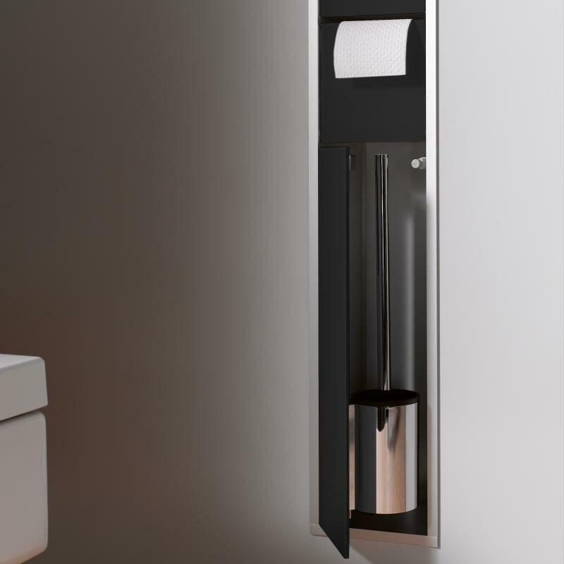 EMCO asis module 150 module de toilette encastré modèle de module de toilette, boîte porte-papier, jeu de brosses de toilette, Coloris: aluminium/noir