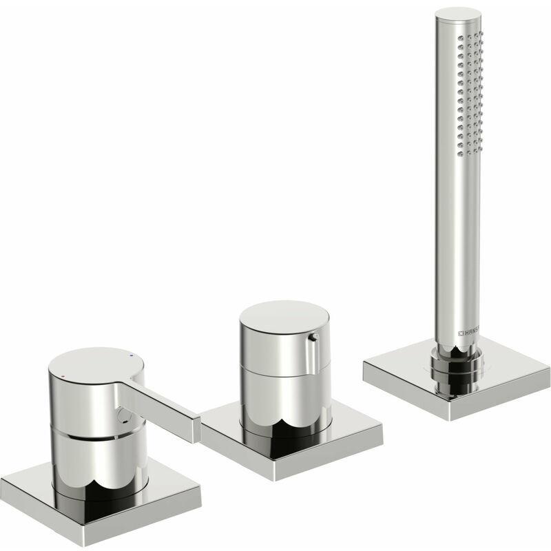 Hansa Hansaloft Kit de montage prêt à l'emploi Mitigeur monocommande pour tous les kits de montage 3 trous 5779, rosette carrée, chromé - 57799483