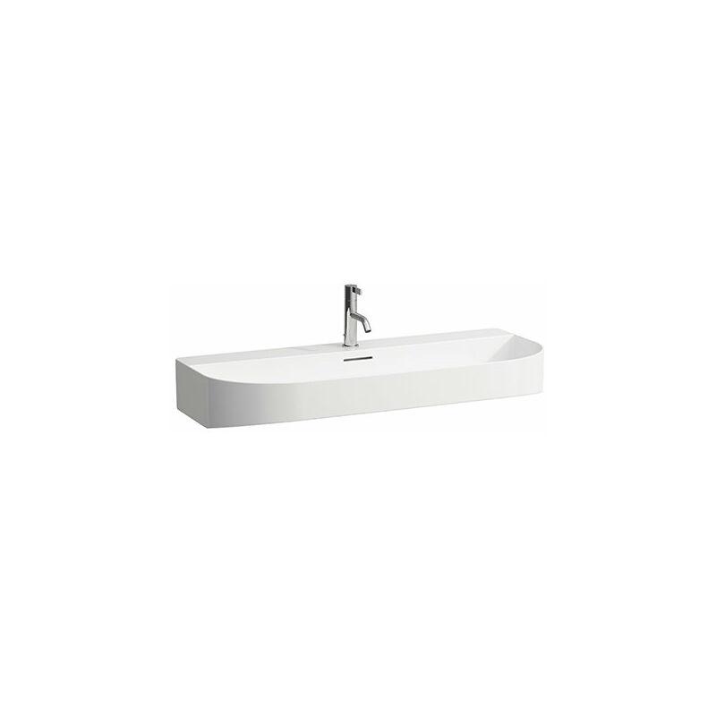 LAUFEN Lavabo Sonar en cours d'utilisation, encastrable, 1 orifice pour robinet, avec trop-plein, 1000x420mm, Coloris: Neige (blanc mat) - H8103477571041