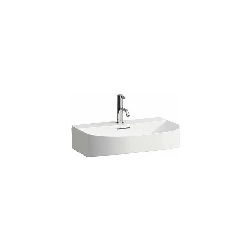 LAUFEN Lavabo Sonar en cours d'utilisation, encastrable, 3 trous de robinet, avec trop-plein, 600x420mm, Coloris: Neige (blanc mat) - H8103427571081
