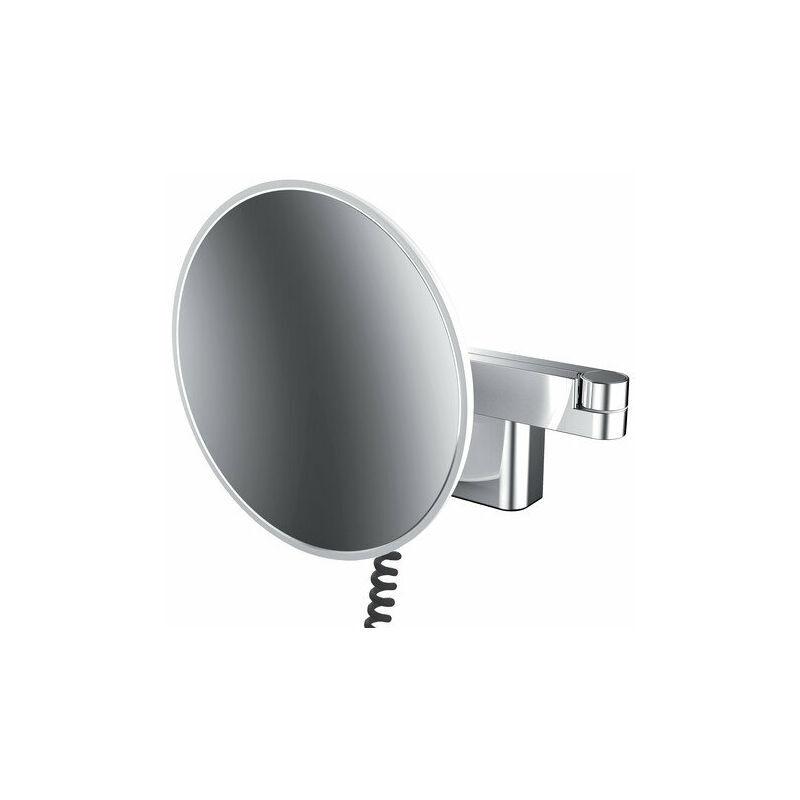 EMCO Miroir cosmétique et de rasage à LED modèle mural, bras articulé double, grossissement 3 fois, câble rond, spiralé et connecteur - 109506041 - Emco