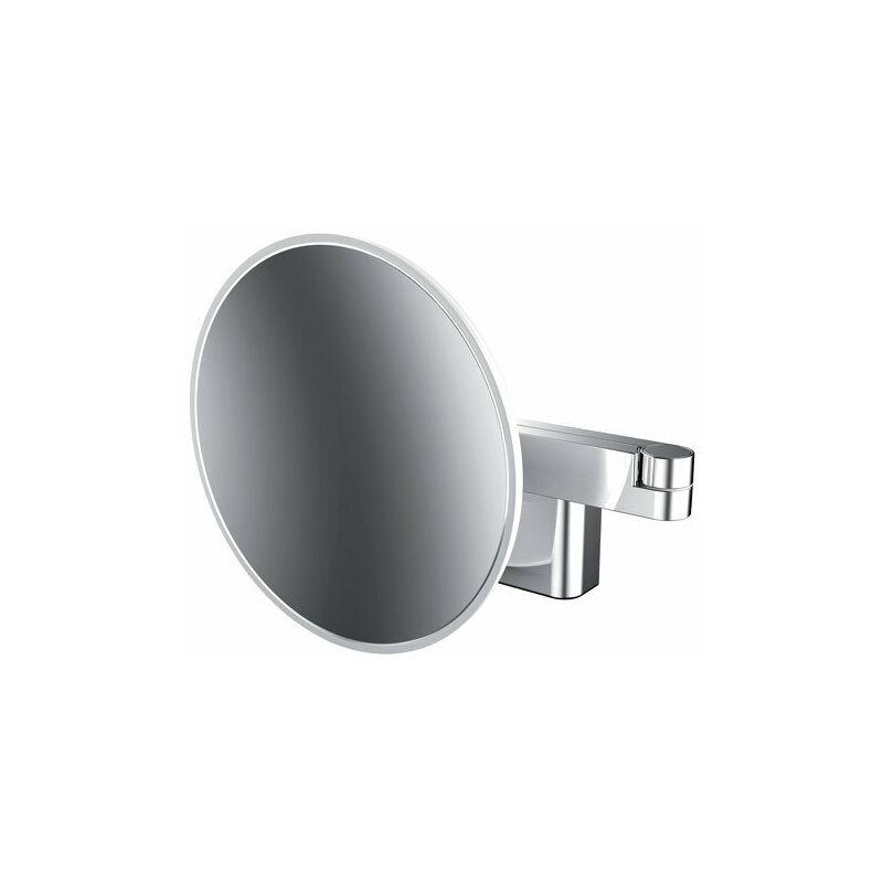 EMCO Miroir cosmétique et de rasage à LED modèle mural, bras articulé double, grossissement 5 fois, rond - 109506030 - Emco