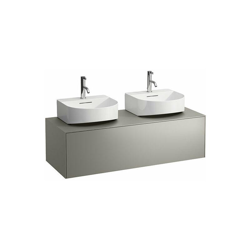 LAUFEN Tiroir Sonar en cours d'utilisation, 1 tiroir, adapté au lavabo H816341, découpe à gauche et à droite pour le lavabo, Coloris: Titane / Nero Marquina