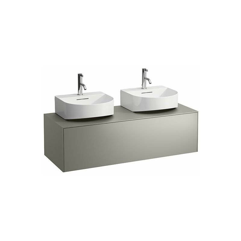 LAUFEN Tiroir Sonar en cours d'utilisation, 1 tiroir, adapté au lavabo H816341, découpe à gauche et à droite pour le lavabo, Coloris: Cuivre/ Nero Marquina