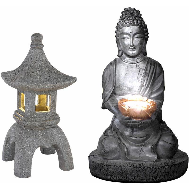 Etc-shop - Bouddha solaire pour l'extérieur de la décoration de jardin de pagode de lanterne en pierre japonaise Lampe solaire de Bouddha, gris, 1x